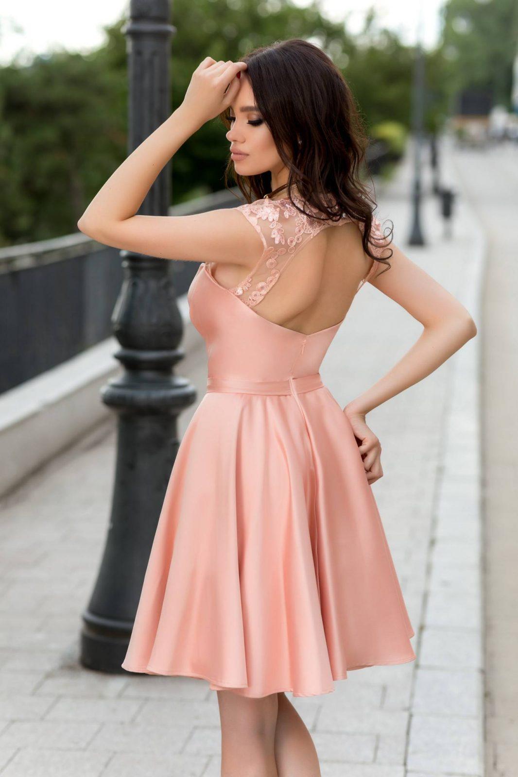 Adorable Ροδακινί Φόρεμα 2322