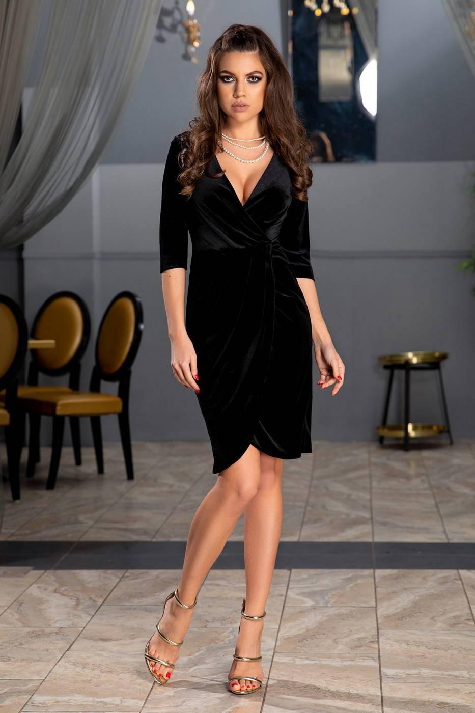 Μαύρο Κρουαζέ Φόρεμα Από Βελούδο Thea 1852