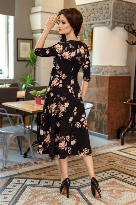 Κρουαζέ Μαύρο Φλοράλ Φόρεμα Loreen 6050