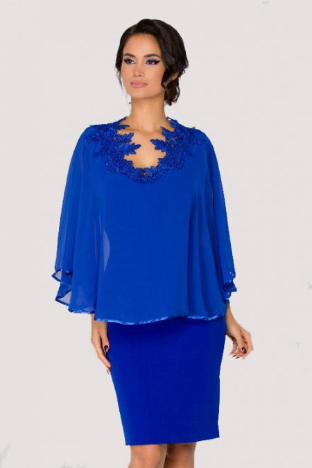Μπλε Φόρεμα Με Δαντέλα Calliope1559