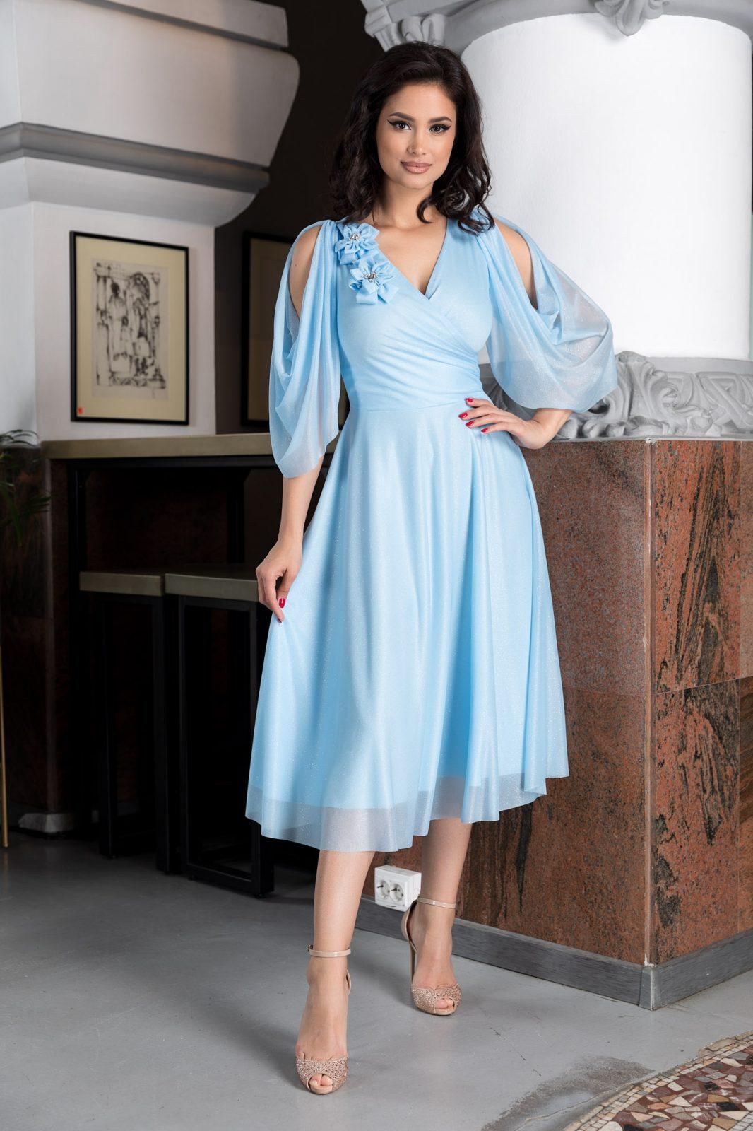 Midi Γαλάζιο Φόρεμα  Rosario 8196 2