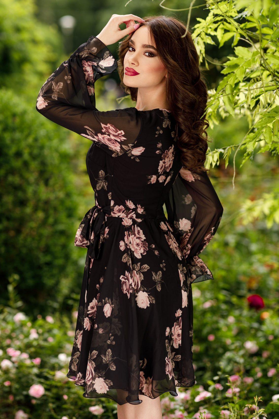 Μαύρο Φόρεμα Με Σομόν Λουλούδια Simine 7451