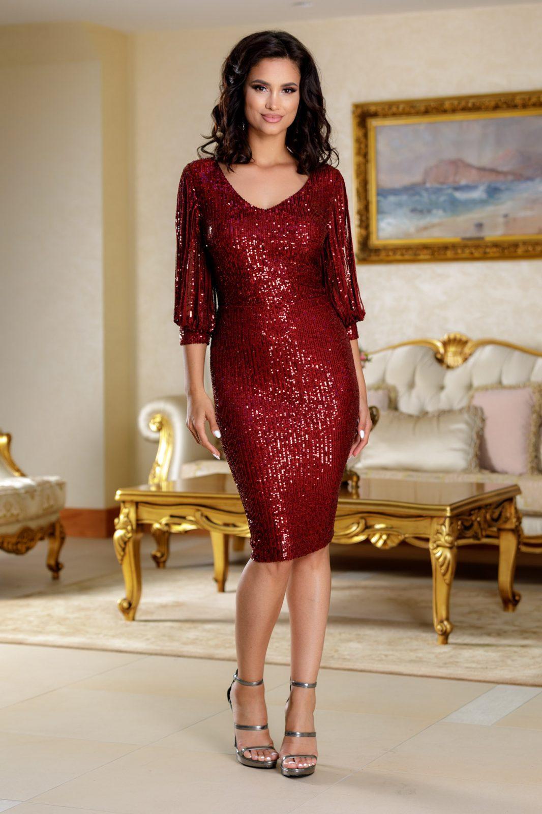 Katriss Μπορντό Φόρεμα 4730