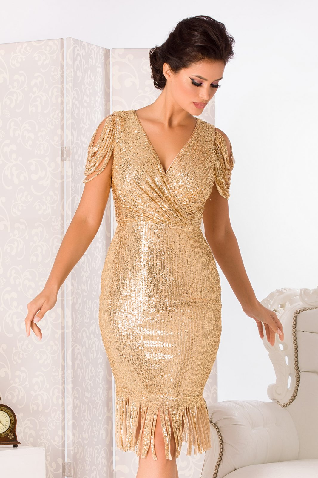 Fringe Golden Dress