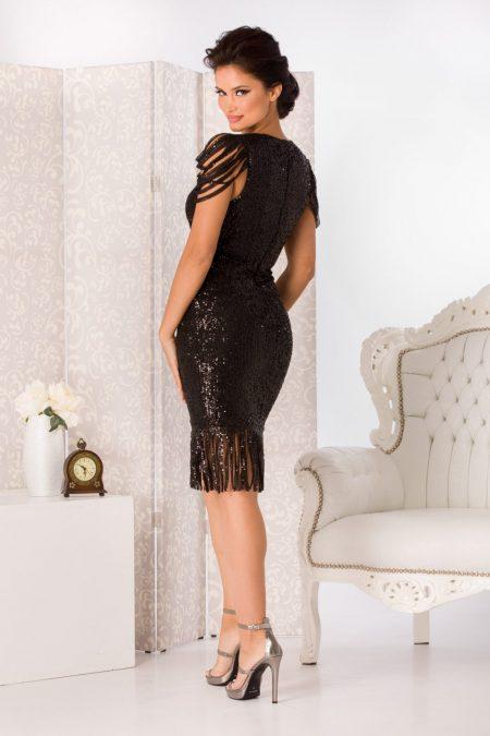 Midi Μαύρο Φόρεμα Fringe 4946