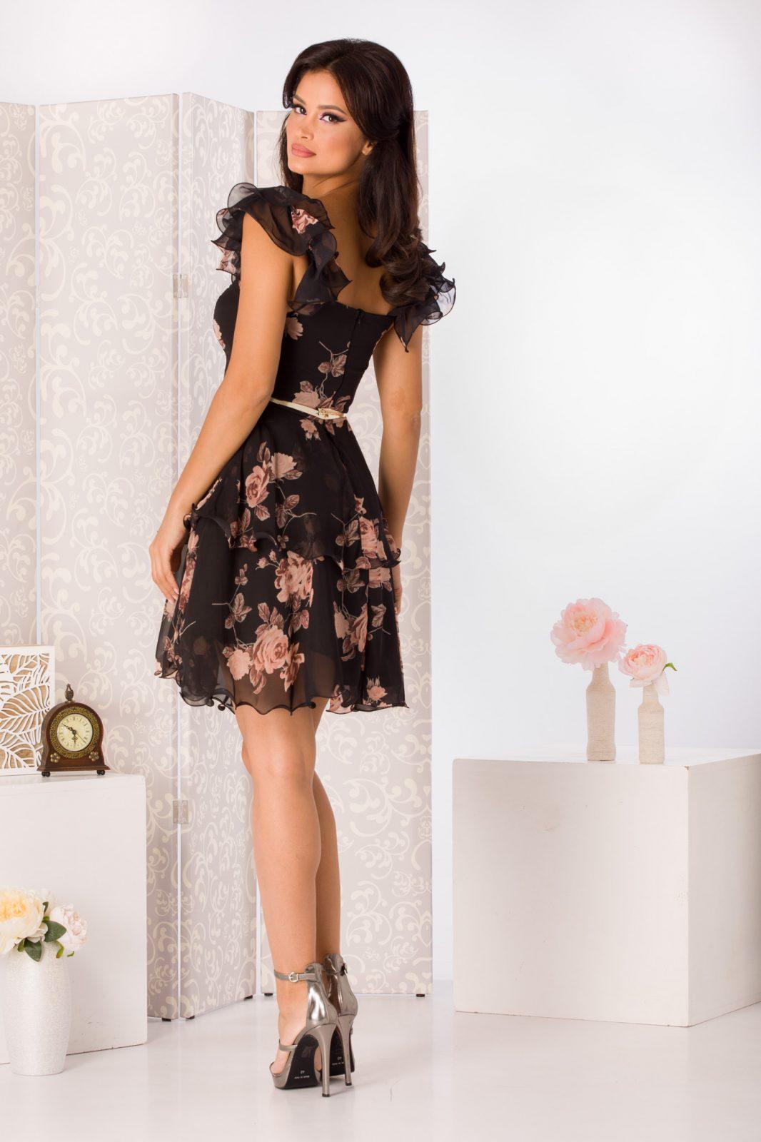 Μαύρο Floral Φόρεμα Με Ζώνη Aniko 4951