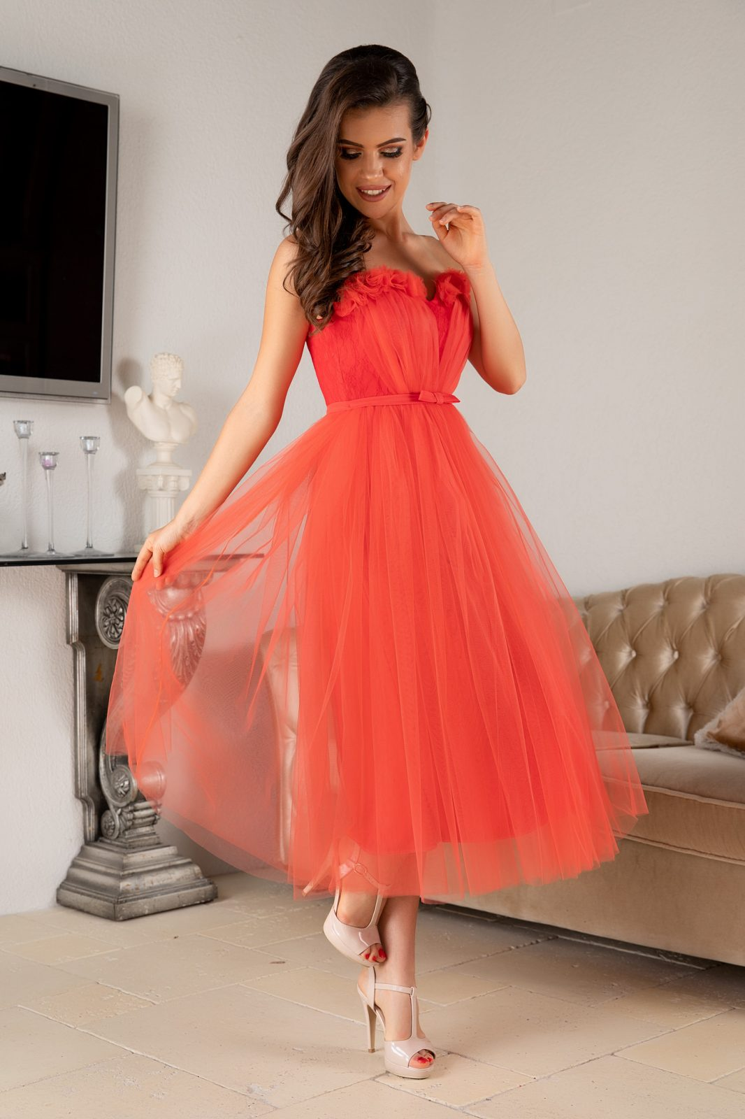 La Donna Dhalia Coral Dress