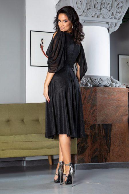 Midi Μαύρο Φόρεμα Rosario 5027