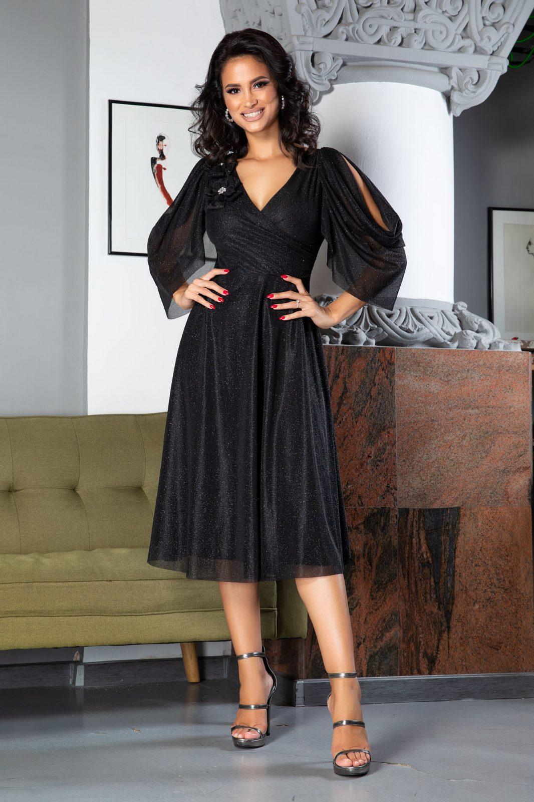 Rosario Midi Μαύρο Φόρεμα 5027