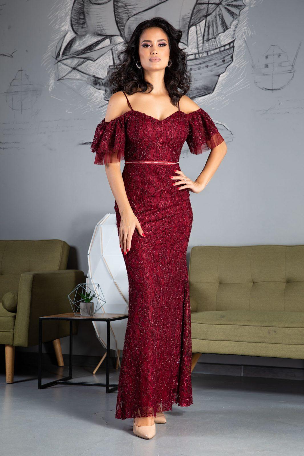 Ylinca Maxi Μπορντό Φόρεμα 5214
