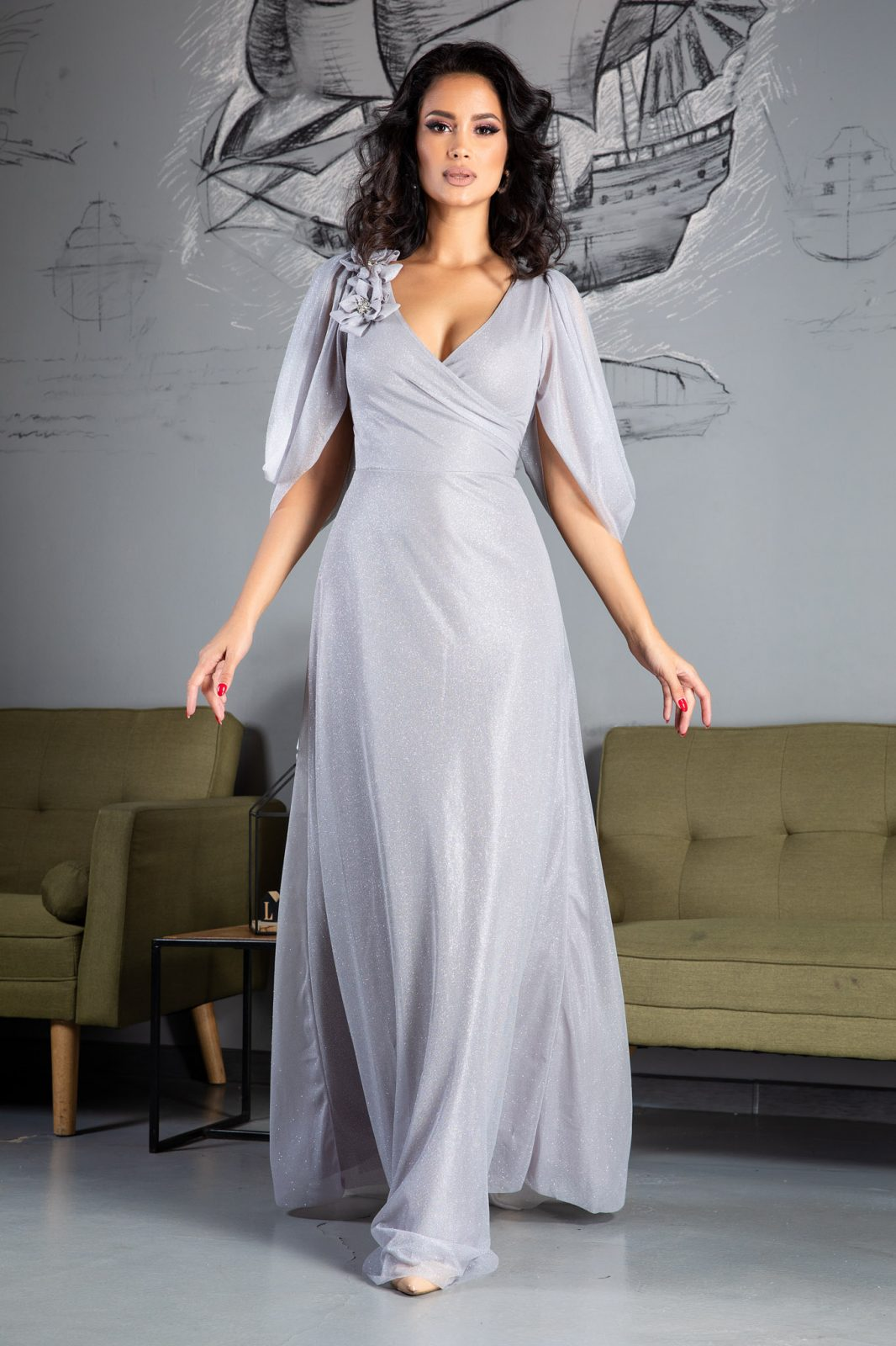 Teresa Maxi Γκρι Φόρεμα 5029 2