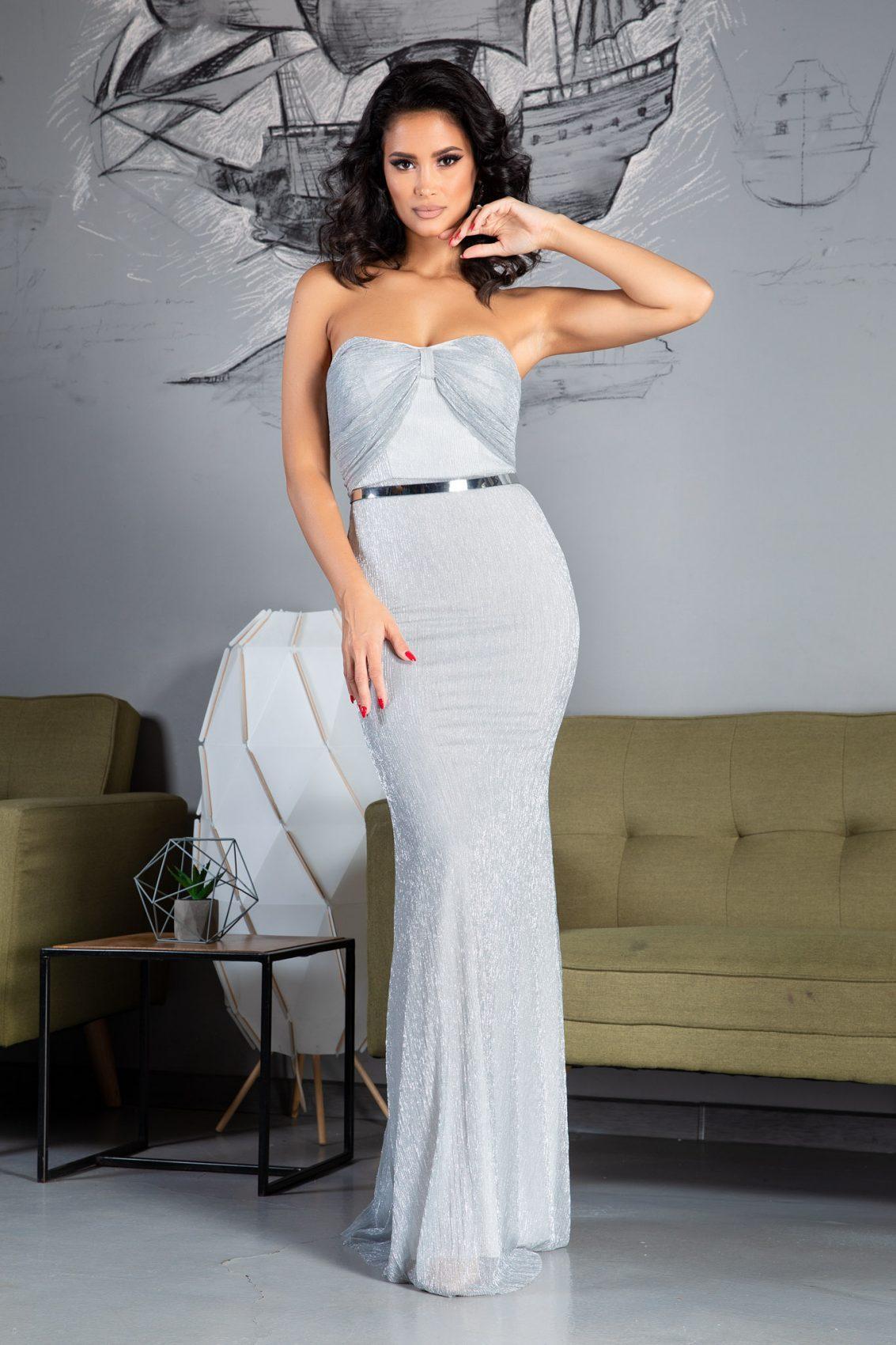 Wonderful Maxi Ασήμι Φόρεμα 5075