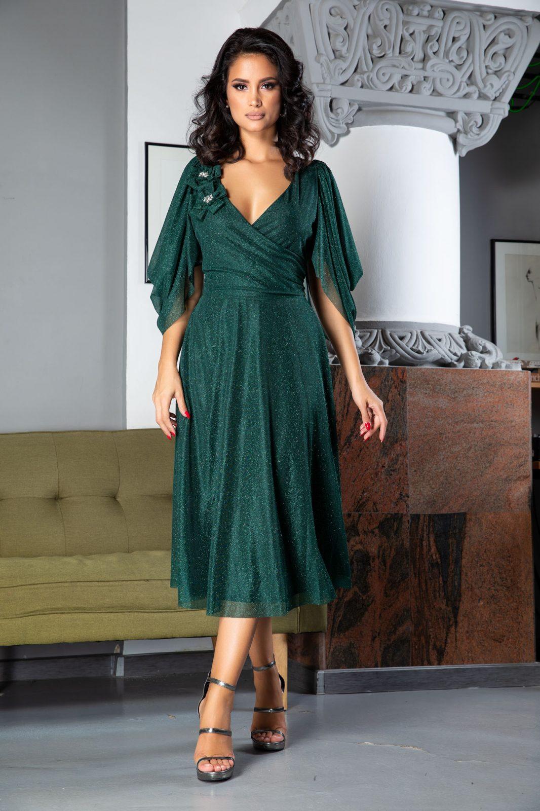 Rosario Midi Πράσινο Φόρεμα 5026