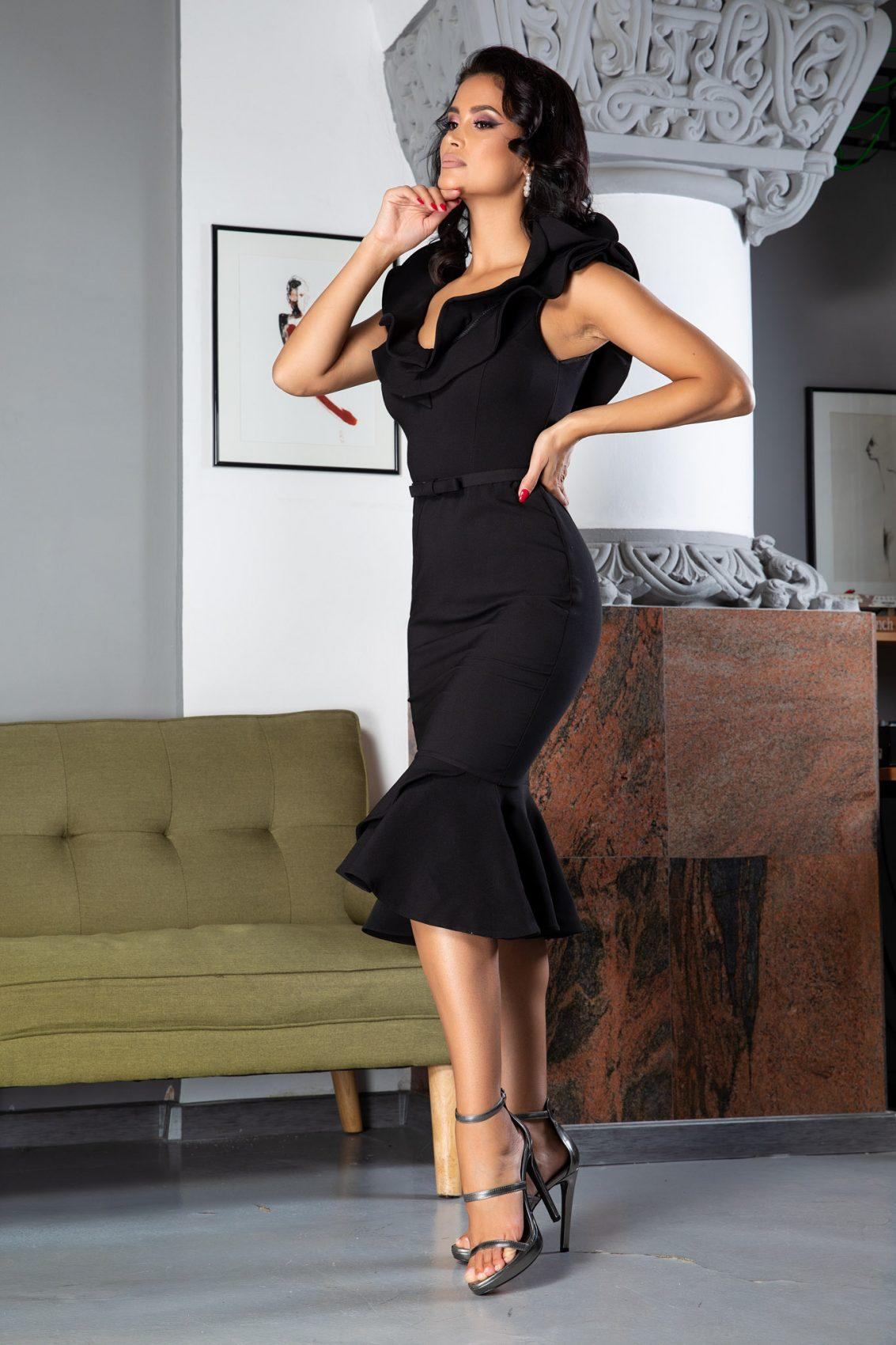 Mariola Midi Μαύρο Φόρεμα 5064