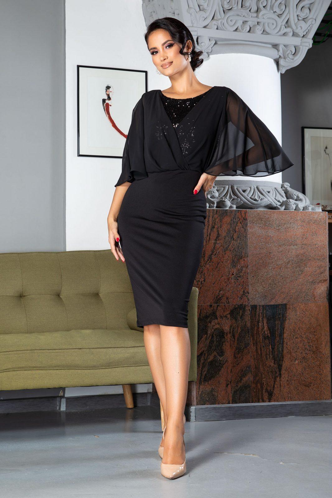Camille Midi Μαύρο Φόρεμα 5014