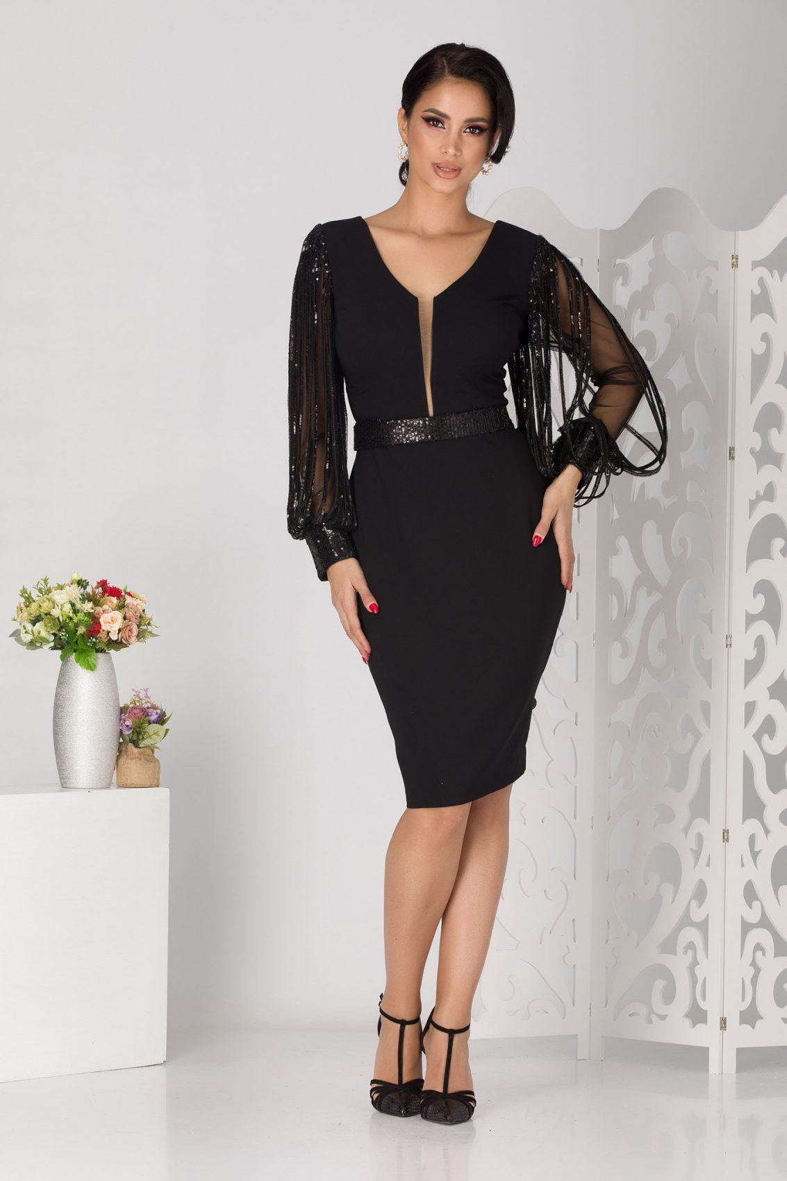 Betty Midi Μαύρο Φόρεμα 5126