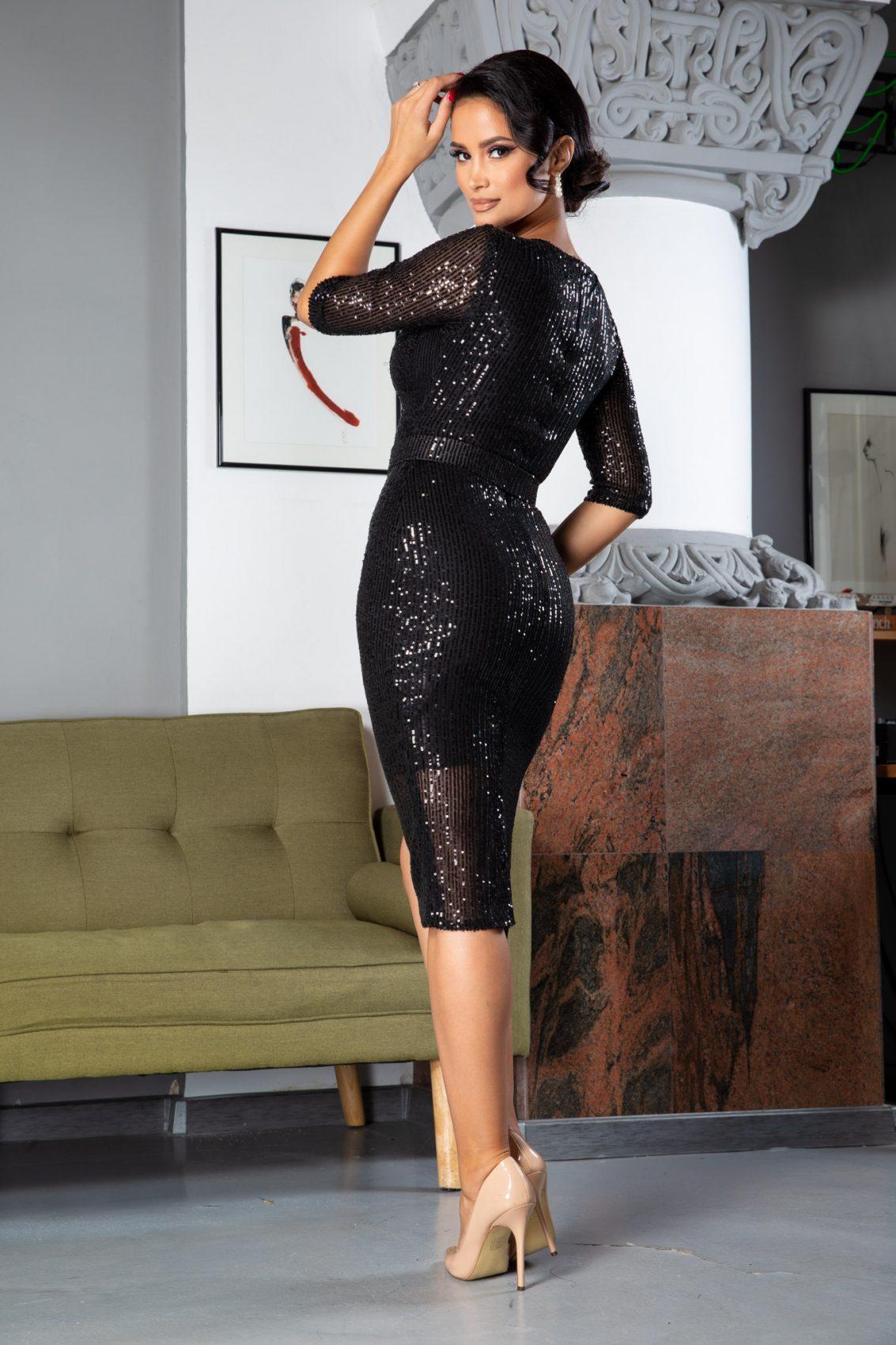 Expression Midi Μαύρο Φόρεμα 5047