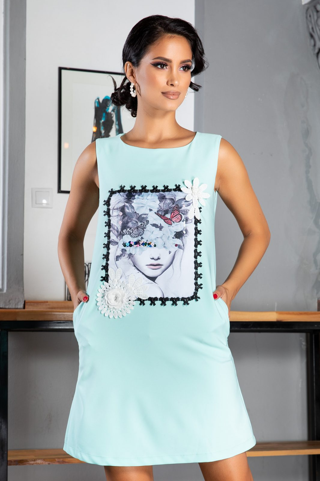 La Donna Bertha Bleu Dress