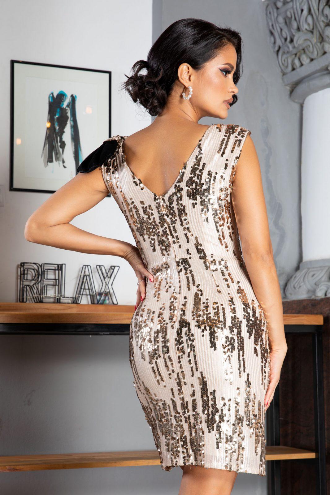 Yana Mini Μπεζ Φόρεμα 5022