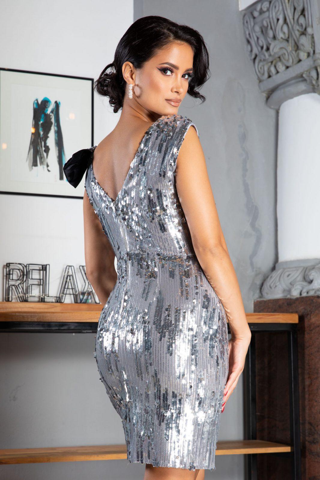 Yana Midi Ασήμι Φόρεμα 5023