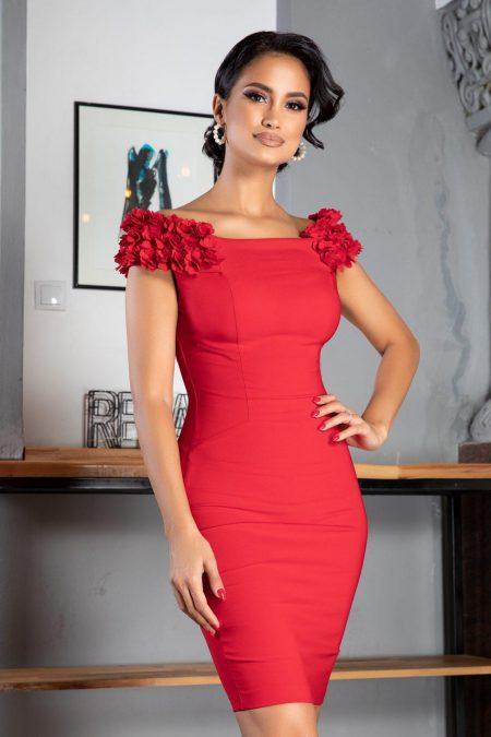 Κόκκινο Φόρεμα Σε Στενή Γραμμή Alive 7840