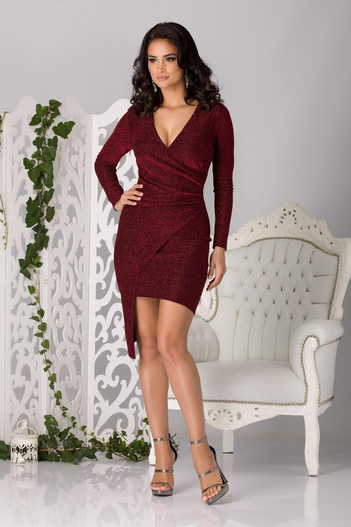 Moze Agatha Μπορντό Φόρεμα 5180