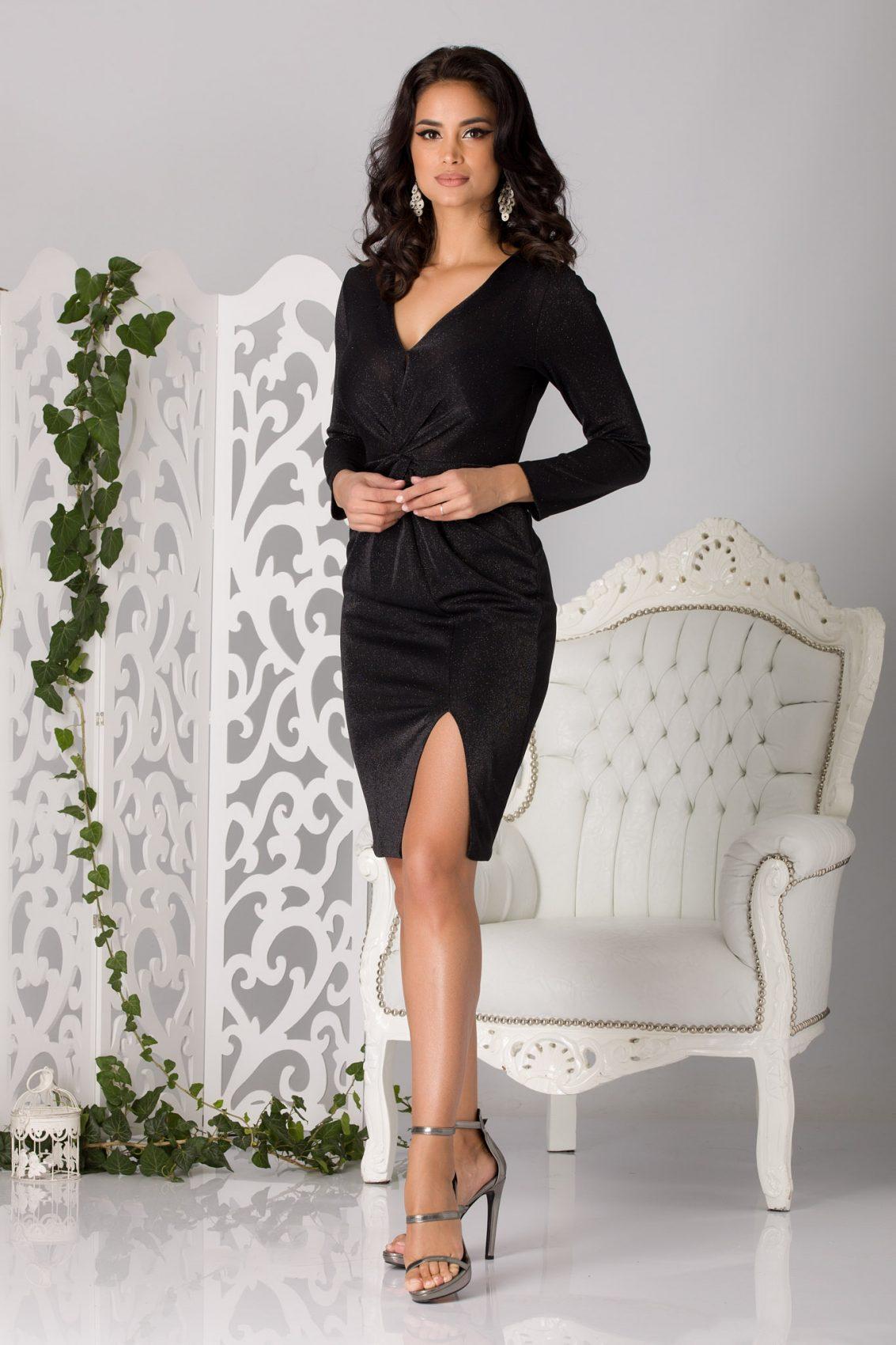 Flirty Midi Μαύρο Φόρεμα 5204