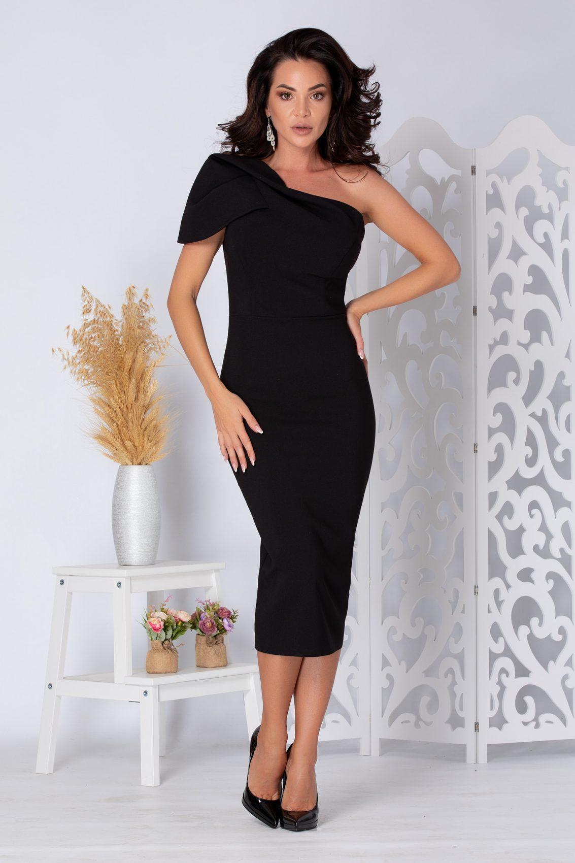 Phillis Midi Μαύρο Φόρεμα 5257