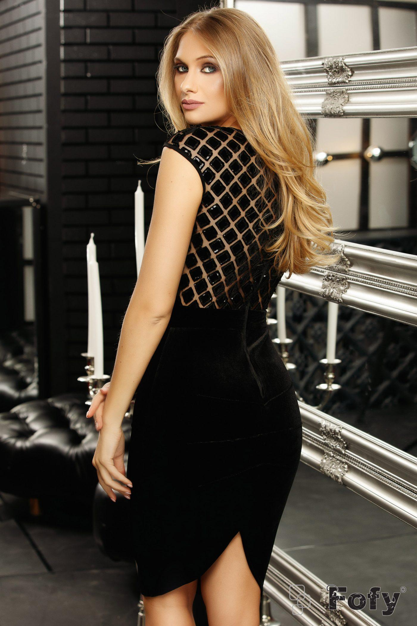 Elegancia Midi Μαύρο Φόρεμα 5270