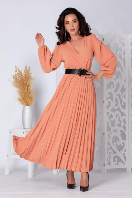 Malina Ροδακινί Φόρεμα 5238