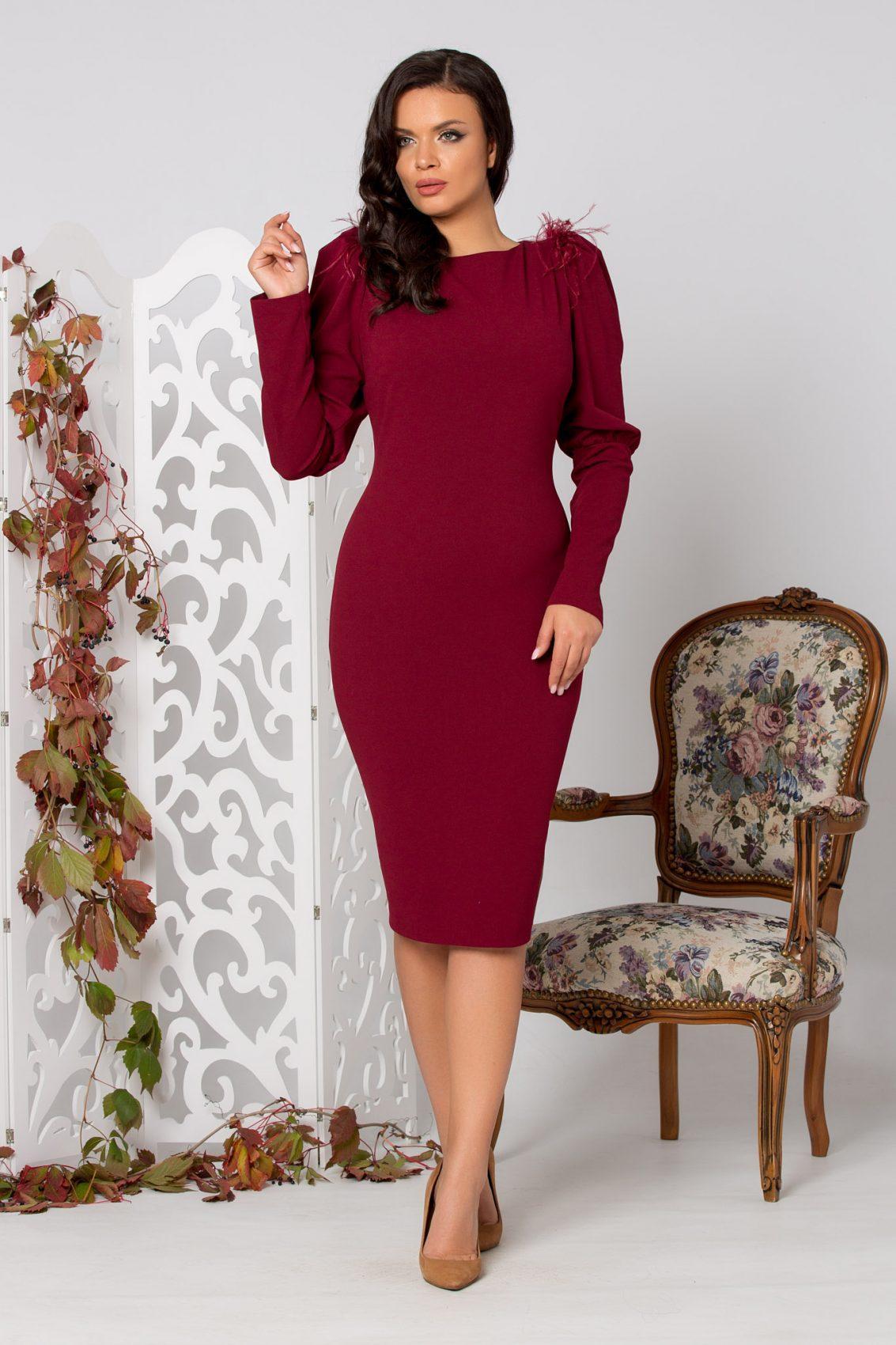 Tania Midi Μπορντό Φόρεμα 5304
