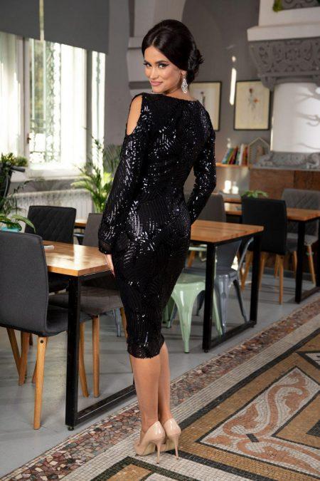 Gyada Midi Μαύρο Φόρεμα 5351