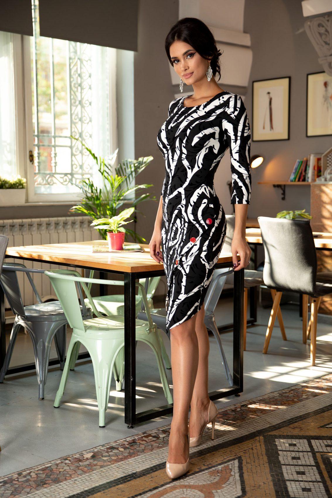 Kaylee Midi Ασπρόμαυρο Φόρεμα 5385