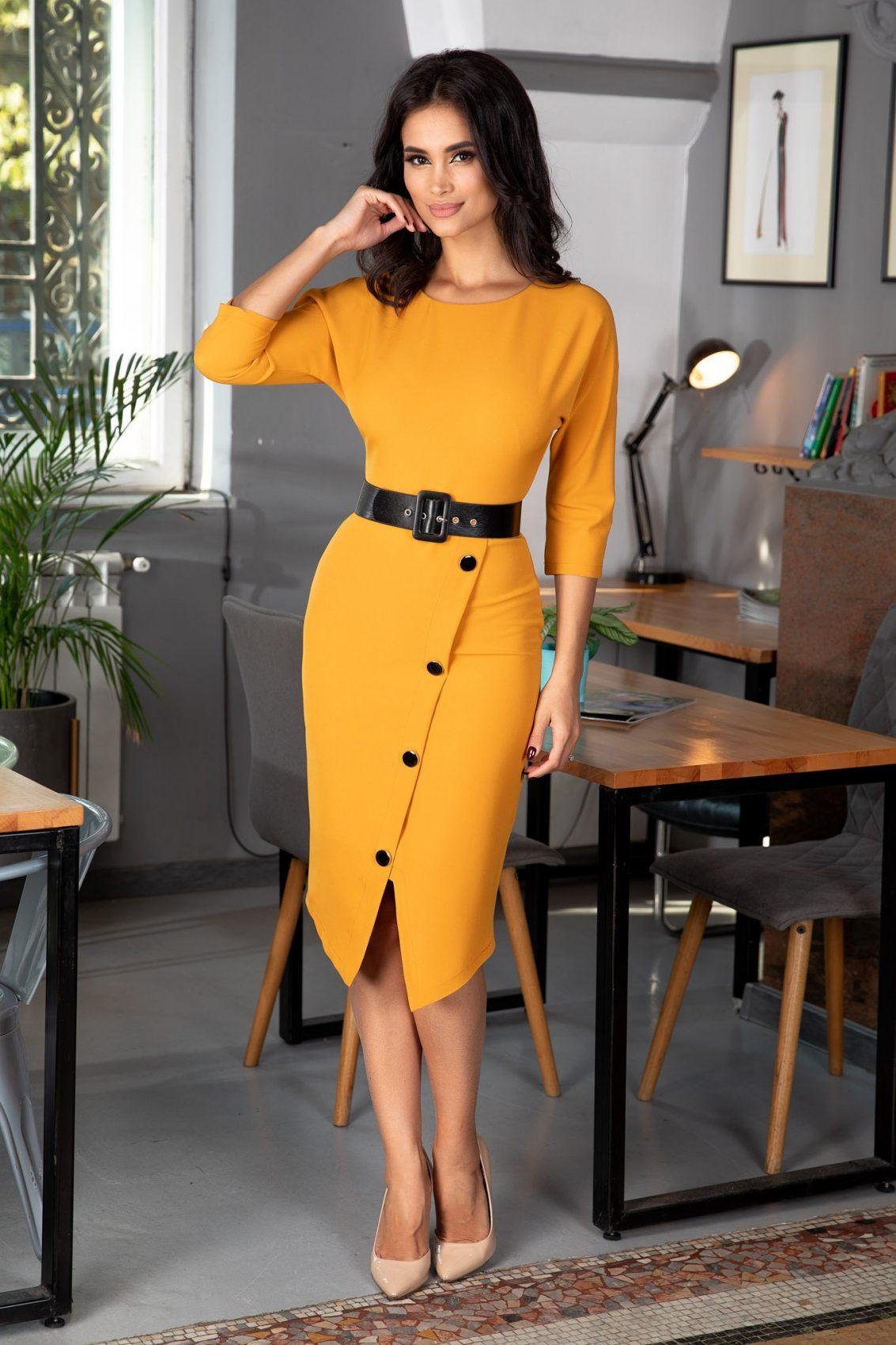 Audrey Mustard Dress