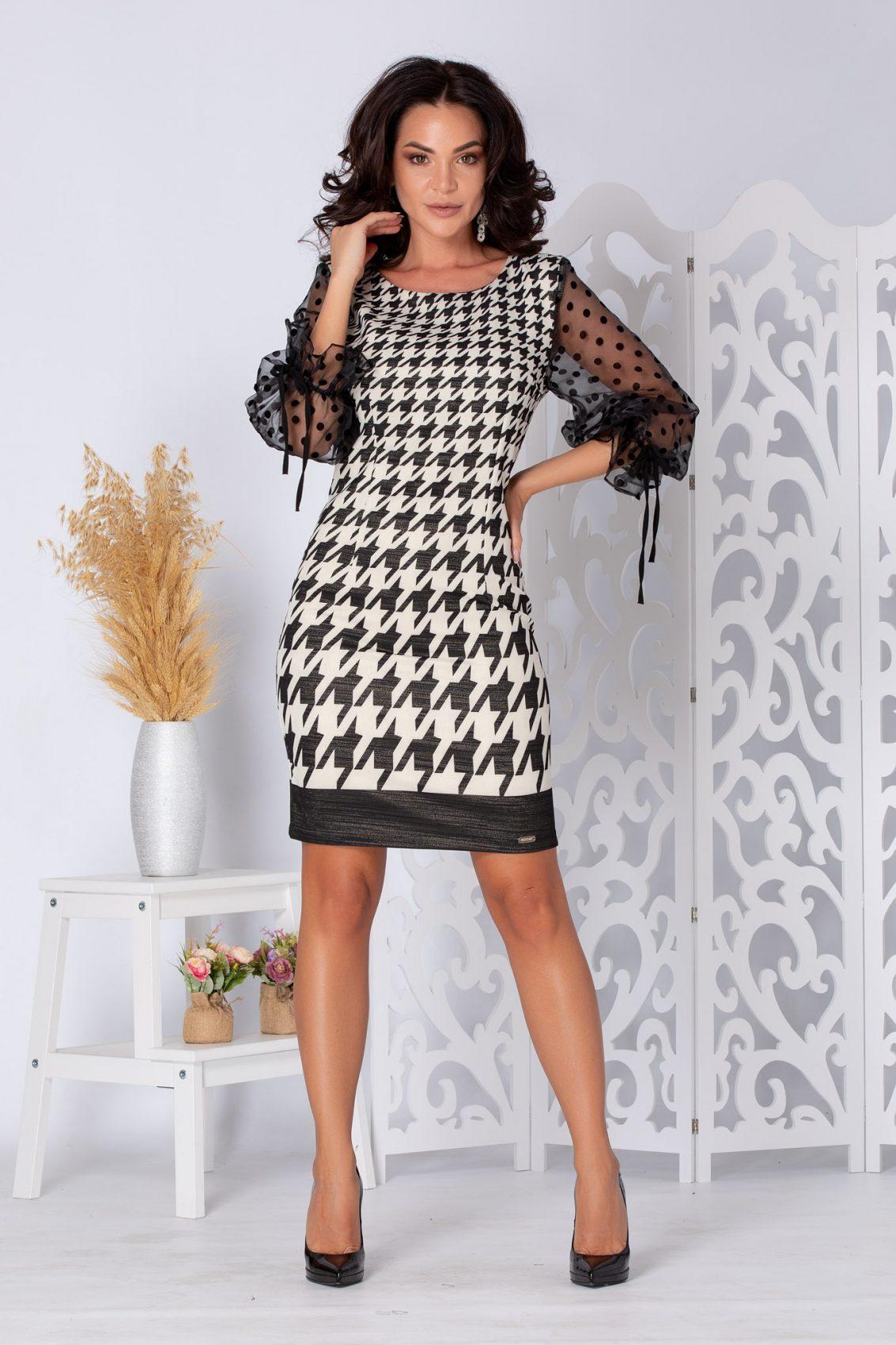 Jenny Ασπρόμαυρο Φόρεμα 5261