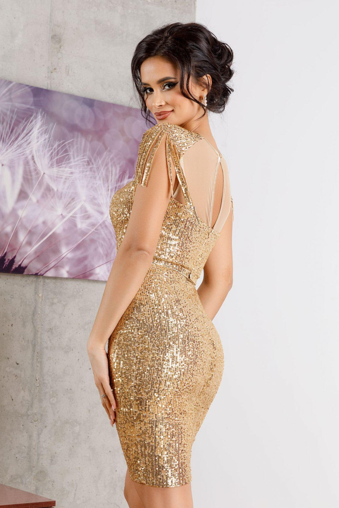 Geena Midi Χρυσό Φόρεμα 4957