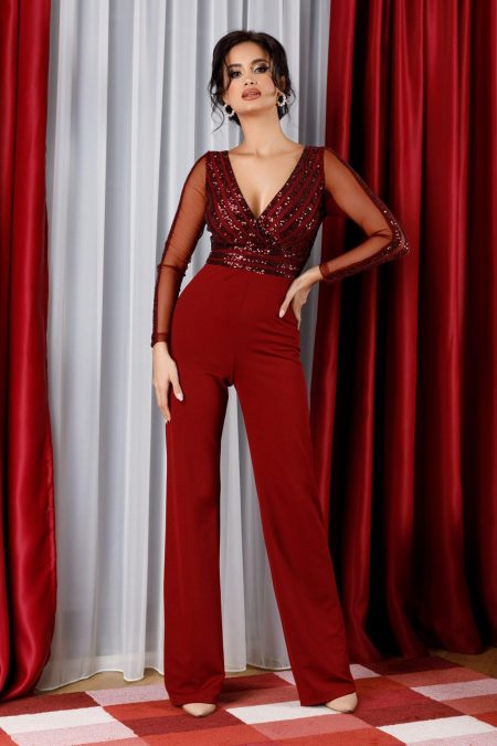 Nowa Burgundy Jumpsuit