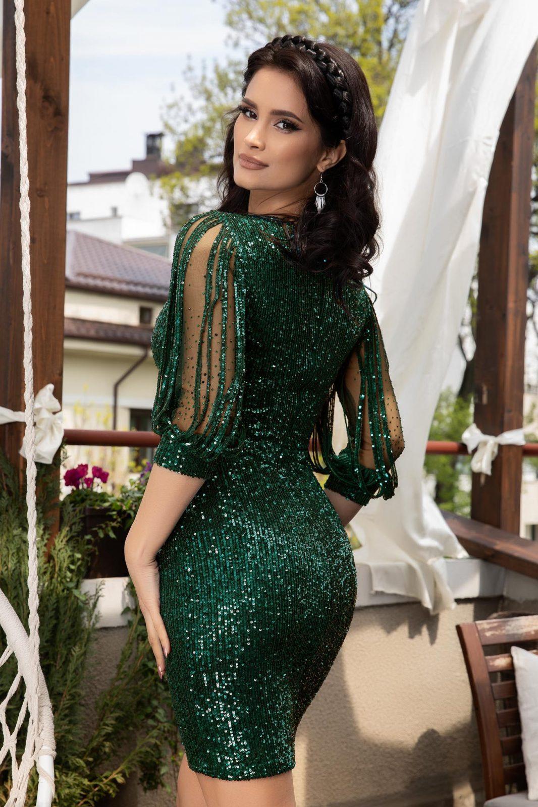Πράσινο Βραδινό Φόρεμα Με Πούλιες Katriss 5898 1