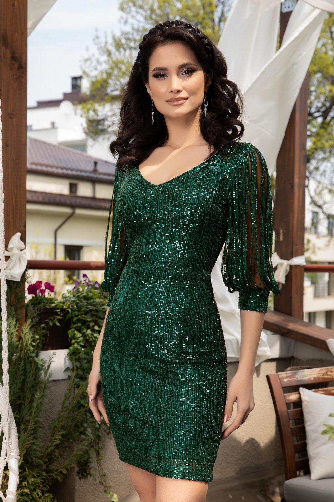 Πράσινο Βραδινό Φόρεμα Με Πούλιες Katriss 5898 2