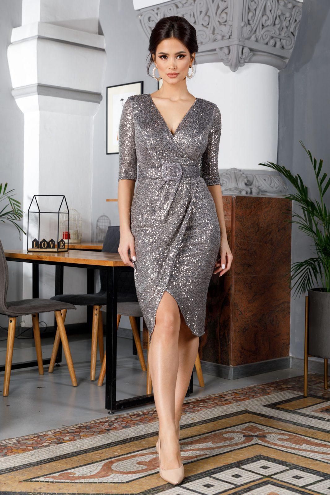 Expression Midi Γκρι Φόρεμα 5048