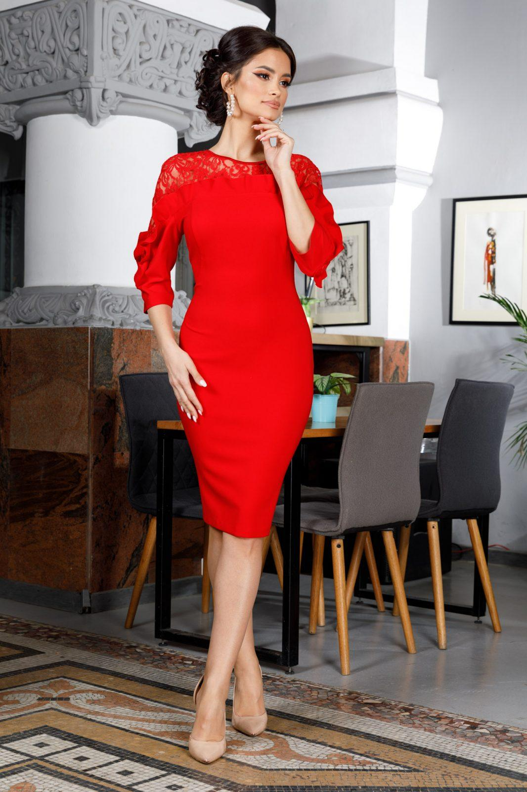Adore Midi Κόκκινο Φόρεμα 5989