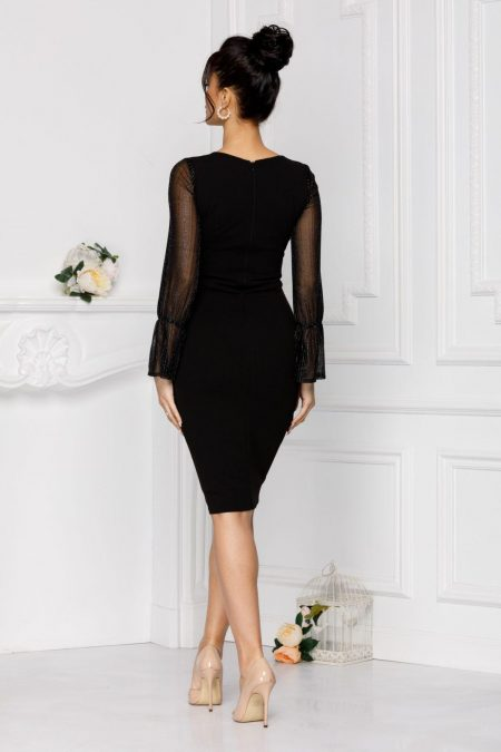 Midi Μαύρο Φόρεμα Moze Hellen 7034