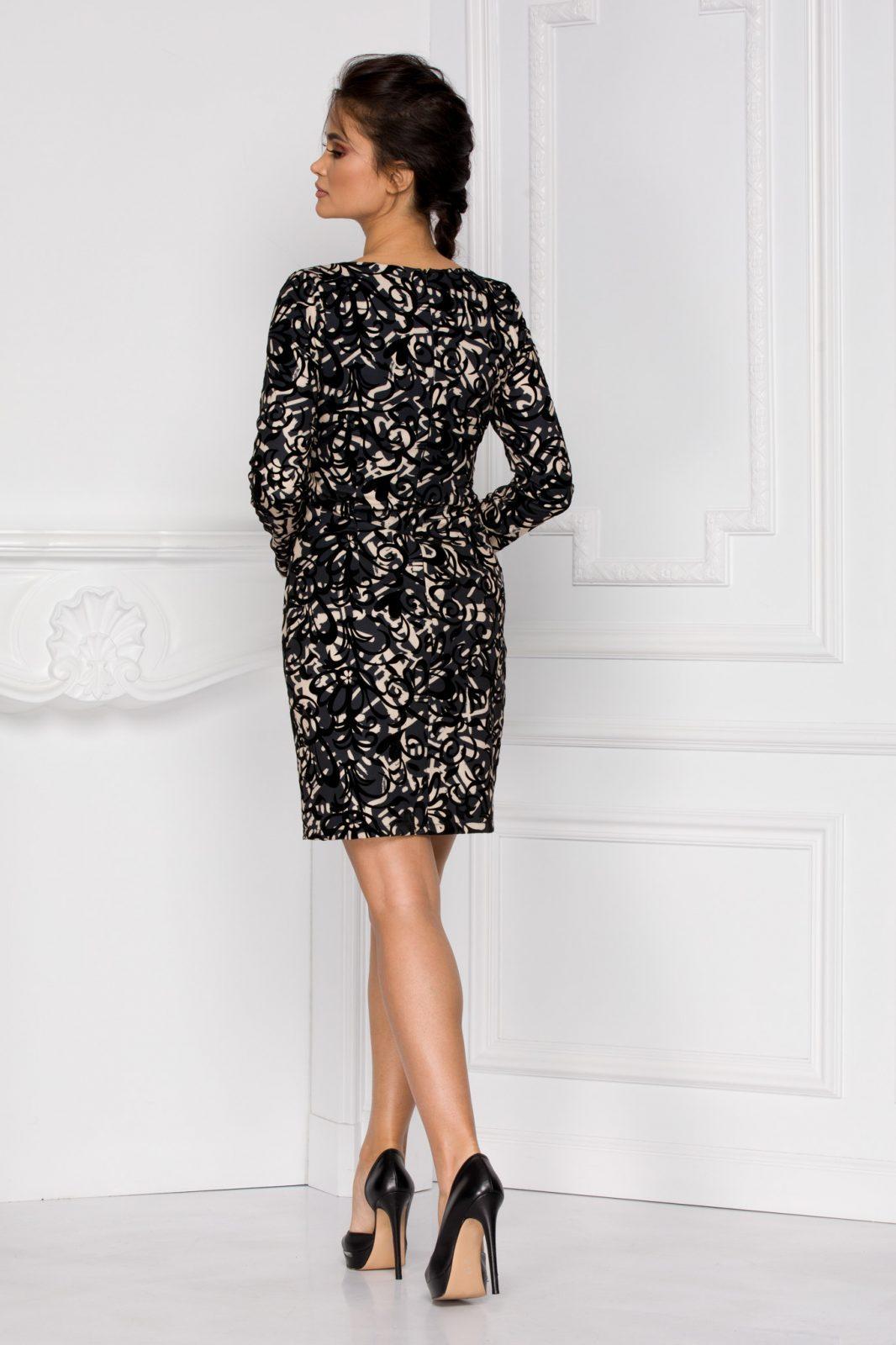 Μαύρο Μακρυμάνικο Κρουαζέ Φόρεμα Nisa 6017