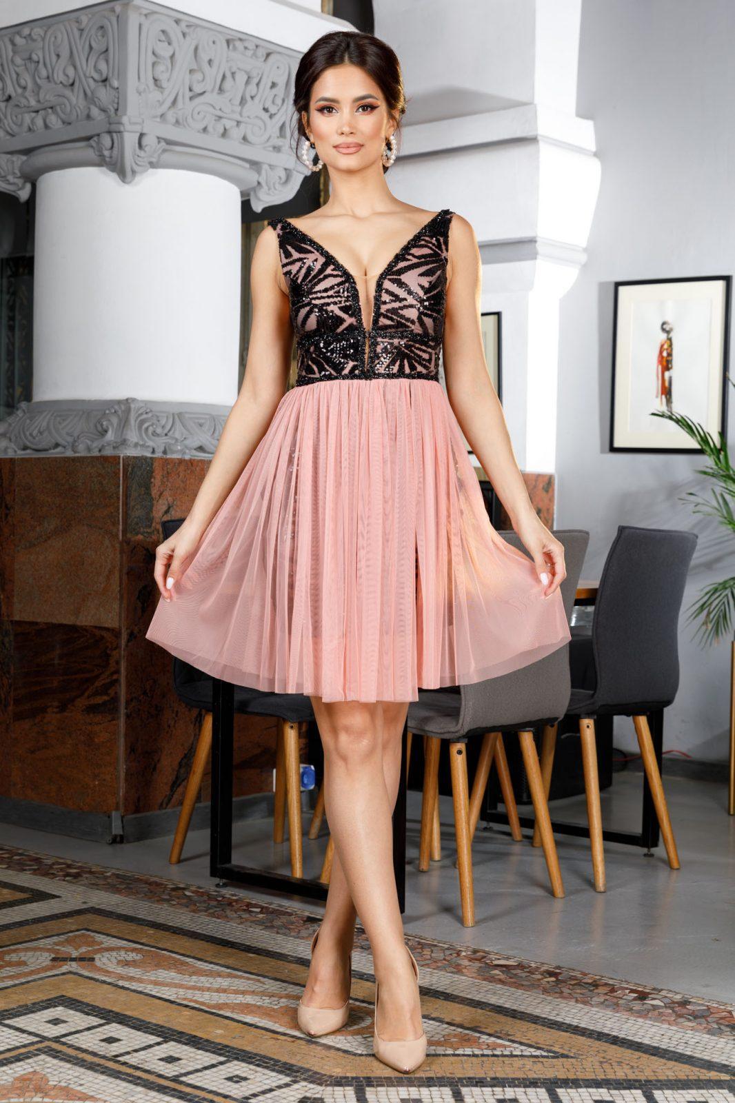 Ροζ Αμπιγιέ Φόρεμα Izza 4989 7
