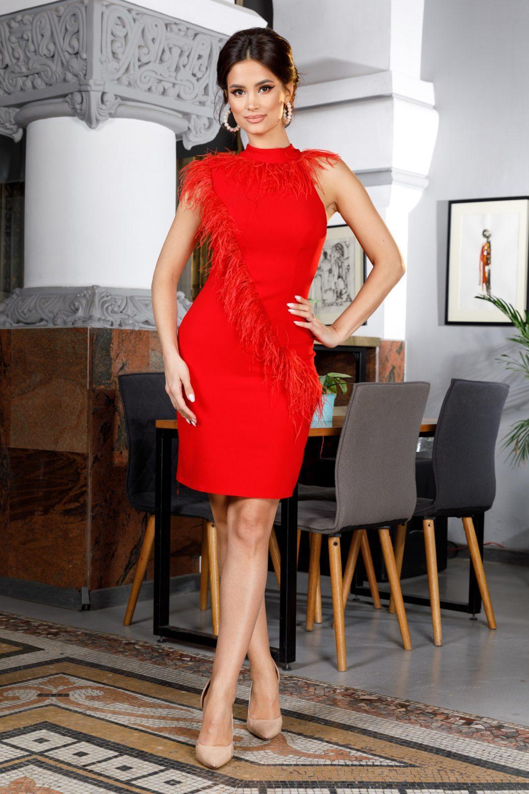 Janine Κόκκινο Βραδινό Φόρεμα 6031