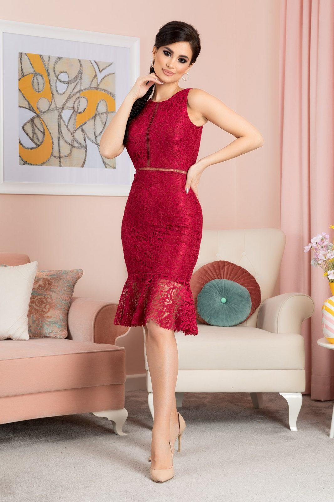 Amore Μπορντό Φόρεμα 7167 2