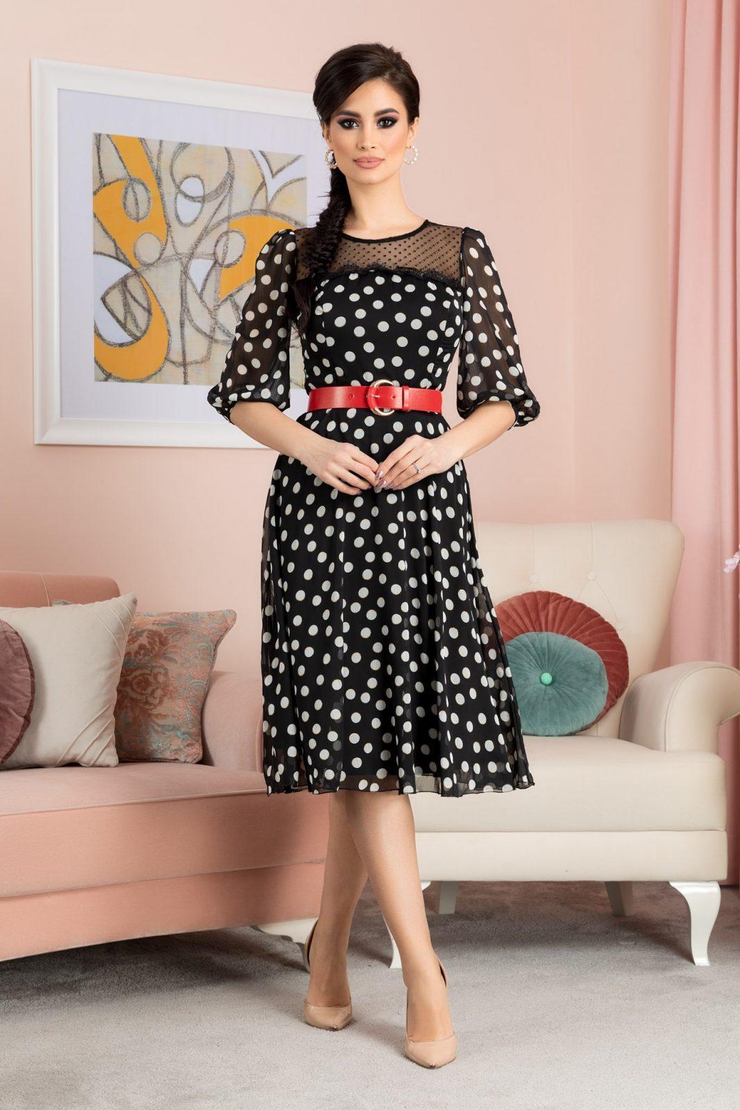 Μαύρο Πουά Φόρεμα Everly 7175 2