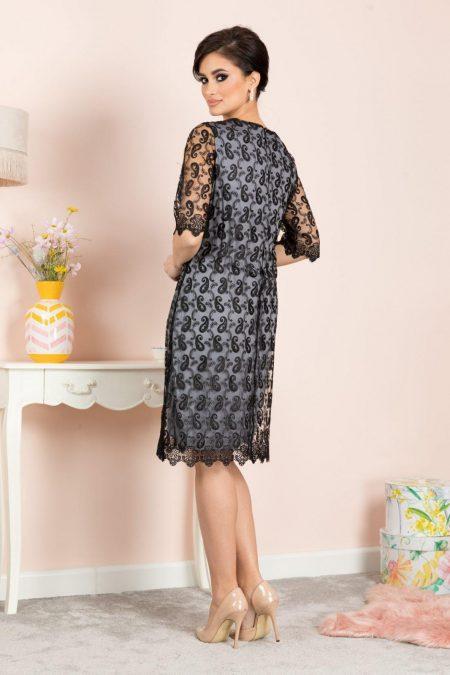 Emilly Midi Μαύρο Φόρεμα 7145