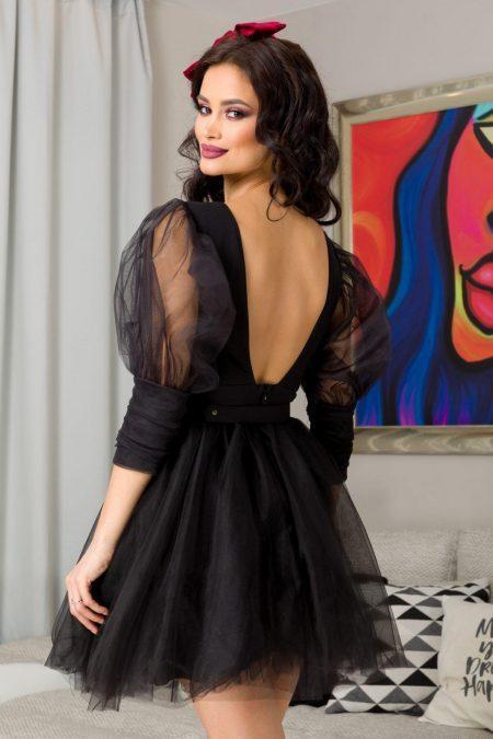 Μαύρο Μίνι Φόρεμα Athena 7227