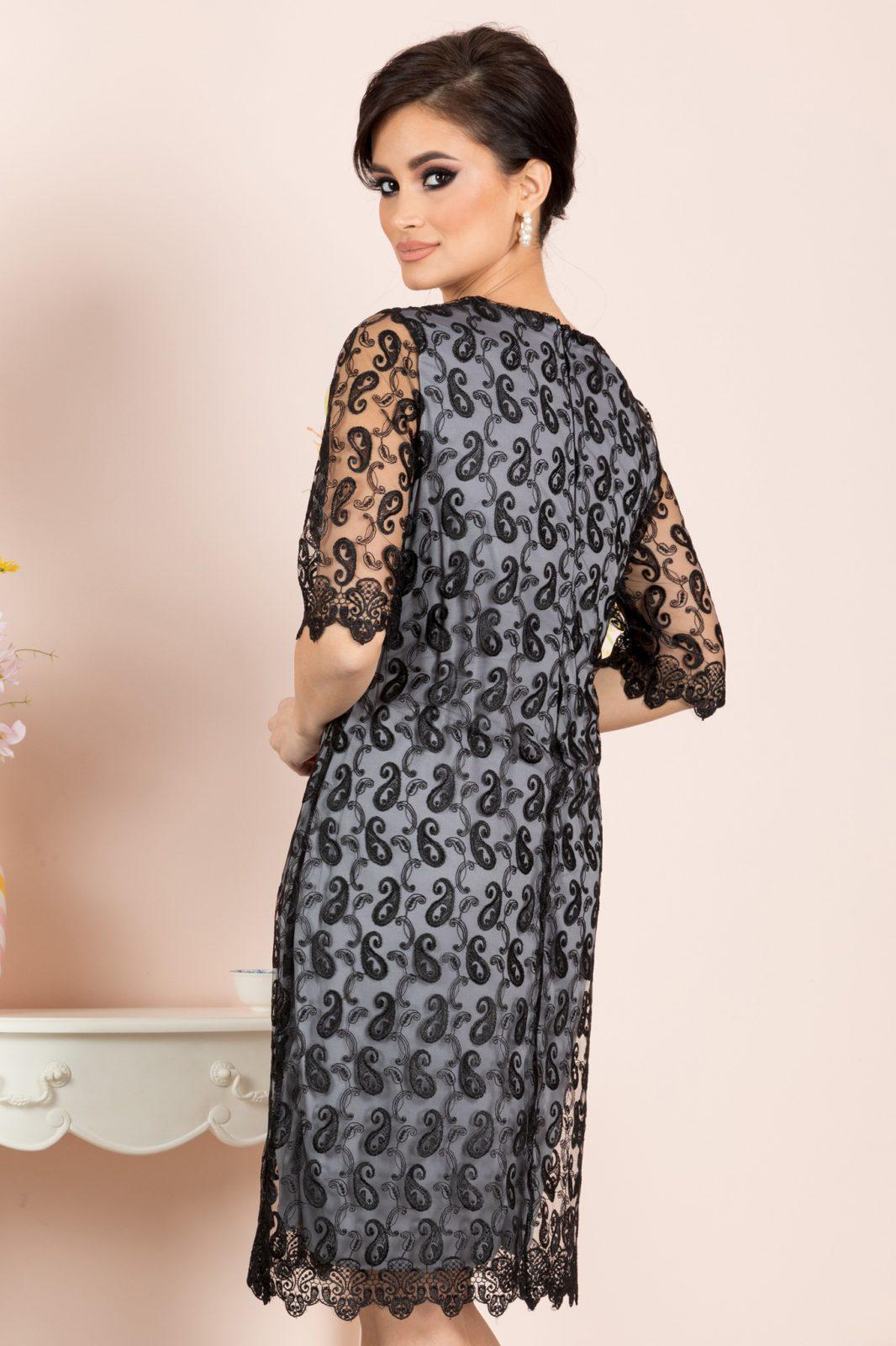 Μπλε Βραδινό Φόρεμα Με Δαντέλα Emilly 8197